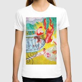 'Love Flight of a Pink Candy Heart' landscape painting by Florine Stettheimer T-shirt