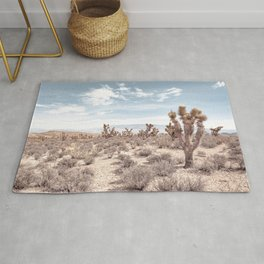 Vintage Deset Landscape // Joshua Tree Cactus Dusty Blue Sky and Mountains Rug