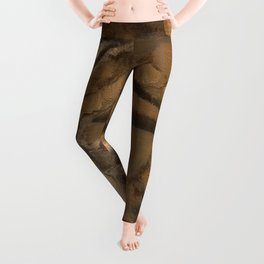 Feather Impressionistic Tan Brown Painting Abstract Realism of Native American Dreamcatcher Leggings