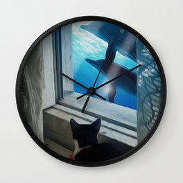 Cat Dreams - My window is the ocean Wall Clock