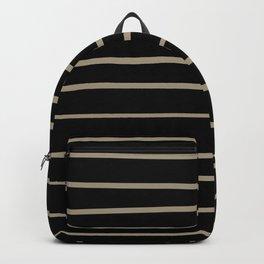 Pantone Twill Brown 16-1108 Hand Drawn Horizontal Lines on Black Backpack