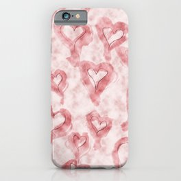 Pink Pastel Hearts on Watercolour Clouds iPhone Case