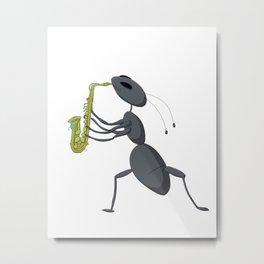 Cute ant playing saxophone Metal Print
