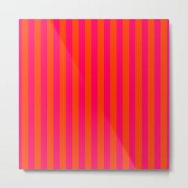 Orange Pop and Hot Neon Pink Vertical Stripes Metal Print