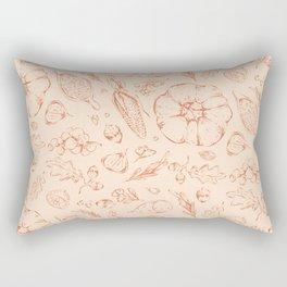 Thanksgiving Pumpkin Veggie Pattern Rectangular Pillow