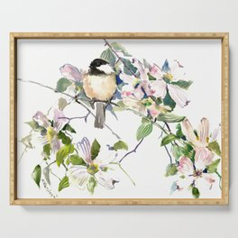 Chickadee and Dogwood Flowers Serving Tray