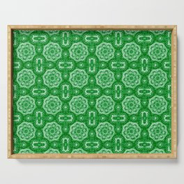 Green Doily Floral Serving Tray