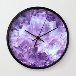 Bright purple quartz crystal cluster Wall Clock