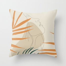 Minimal Line Art Woman And Palm Leaves #Society6 #Buyart Throw Pillow