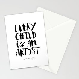 Every Child is an Artist black-white kindergarten nursery kids childrens room wall home decor Stationery Cards