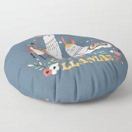 Como te Llamas. Funny Spanish Word Humor. Flowers and two Llamas Floor Pillow