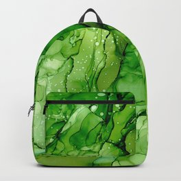 Green Abstract #4: Original Alcohol Ink Painting by Herzart Backpack
