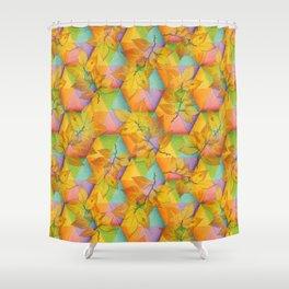Harlequin Rainbow Leaves Shower Curtain