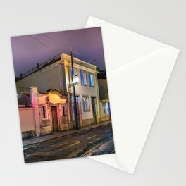 Old stone's street empty of people with tram railways at night, foggy sky. Stationery Cards