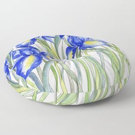 Blue Iris, Illustration Floor Pillow