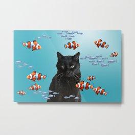 Snoki Black Cat - Clownfishes Illustration  Metal Print