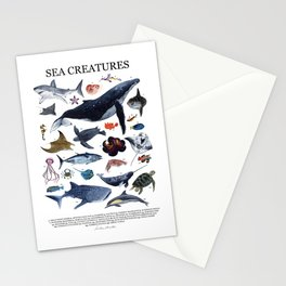 SEA CREATURES poster with names Stationery Cards