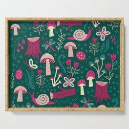 Green Mushroom Field Pattern Serving Tray
