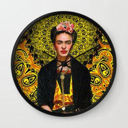 Frida Kahlo 3 Yellow Wall Clock