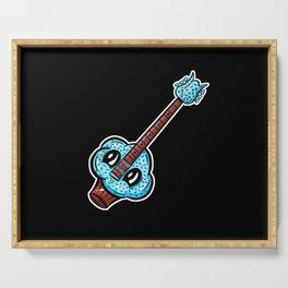 Sweet Cupcake Guitar - Cute Blue Sprinkles Cupcake Cartoon Serving Tray