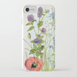 Floral Watercolor Botanical Cottage Garden Flowers Bees Nature Art iPhone Case