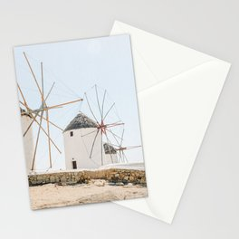Famous White Mykonos Windmills in Greece Stationery Cards