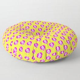 Skull heart pattern, punk rock skull, punk girl, love kills, yellow pink hearts, girly emo skull Floor Pillow