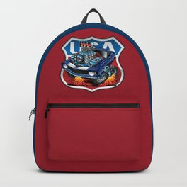 USA Classic Muscle Car Pride Cartoon Illustration Backpack