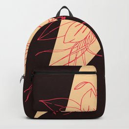Modern Peach, Coral, and Black Floral Triangles Backpack