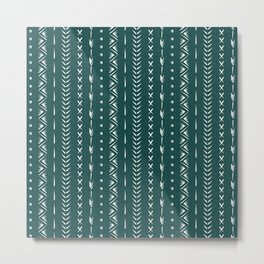Boho mud cloth pattern, forest green and white Metal Print
