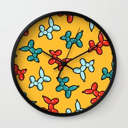 Balloon Animal Dogs Pattern in Yellow Wall Clock