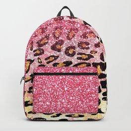 Cute girly trendy bubble gum pink faux glitter leopard animal print pattern Backpack