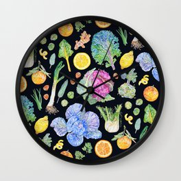 Winter Harvest Pattern Dark Wall Clock