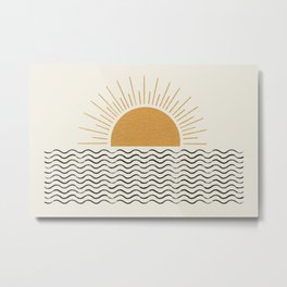 Sunrise Ocean -  Mid Century Modern Style Metal Print