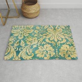 Vintage Antique Green and Gold Pattern Wallpaper Rug