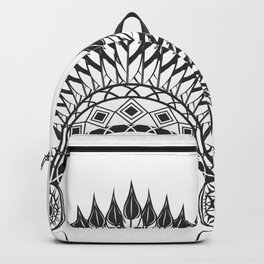 American indian hat. Wild West theme. Monochrome style Backpack