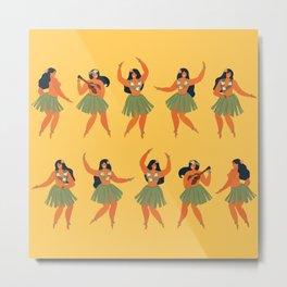 Hula Dance Eclipse - Hawaiian Dancers on Yellow Metal Print