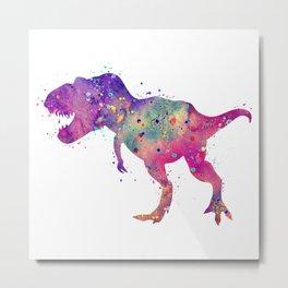 T-Rex Dinosaur Tyrannosaurus Rex Art Wild Animals Nursery Decor Kids Room Watercolor Pint Purple Art Metal Print