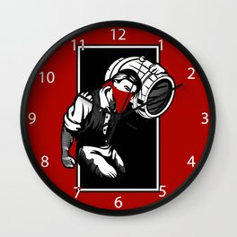 Thief illustration with wine cask Wall Clock