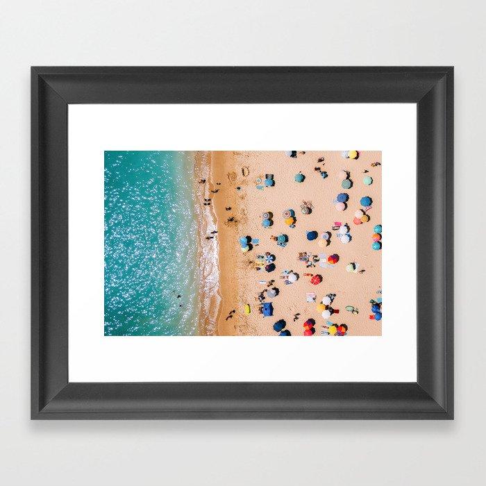 People On Algarve Beach In Portugal, Drone Photography, Aerial Photo, Ocean Wall Art Print Gerahmter Kunstdruck