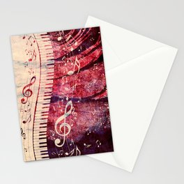 Illustration of a piano keys with musical notes and red rose Stationery Cards