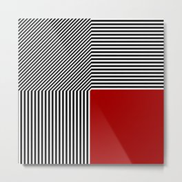 Geometric abstraction, black and white stripes, red square Metal Print