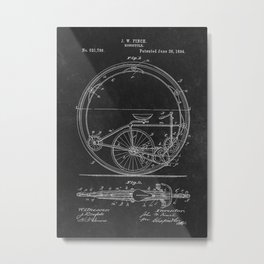 Patent Art Finch Monocycle Metal Print