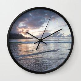 Sunset at Hanalei Bay, No. 2 Wall Clock