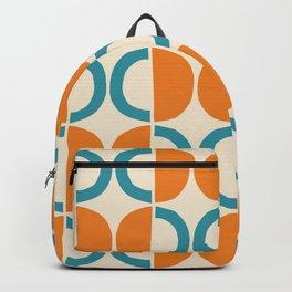 Mid Century Modern Half Circle Pattern 528 Beige Orange and Turquoise Backpack