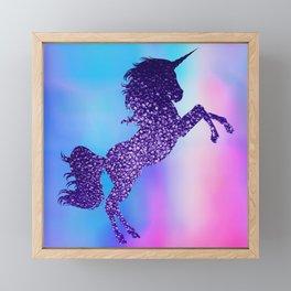 Purple Sparkly Unicorn Framed Mini Art Print