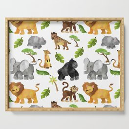 Safari Animals Pattern Watercolor Serving Tray