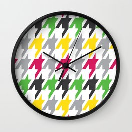 Summer Houndstooth Pattern Wall Clock
