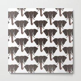 Modern Black White Rose Gold Elephant Pattern Metal Print