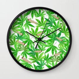 Green Weed Wall Clock